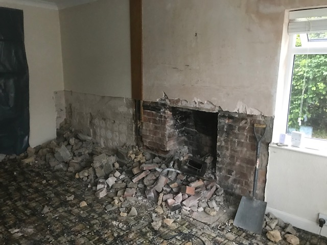 old fireplace broken out