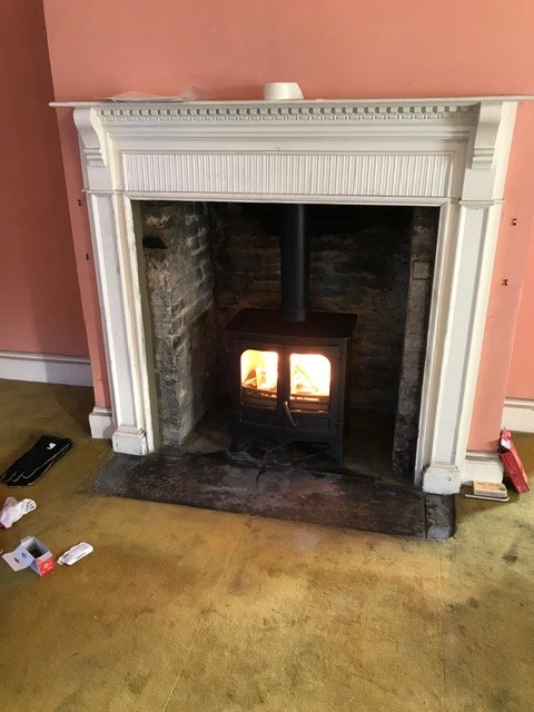 new stove burning well